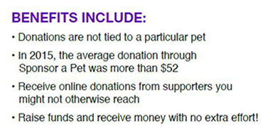 Petfinder Foundation Sponsor A Pet benefits include